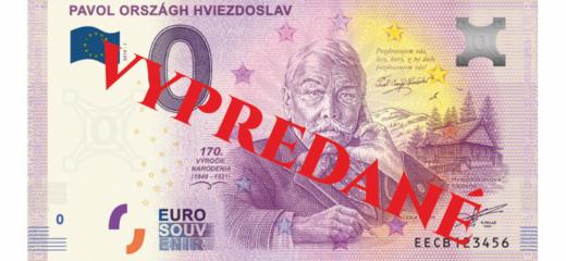 0 Euro Souvenir bankovka je vypredaná!